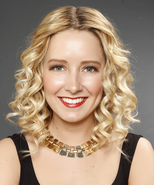 Medium Curly Formal    Hairstyle   -  Golden Blonde Hair Color with Light Blonde Highlights