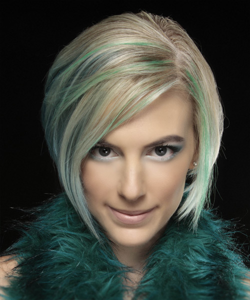 Short Straight Formal Layered Bob  Hairstyle   - Light Champagne Blonde Hair Color with Green Highlights