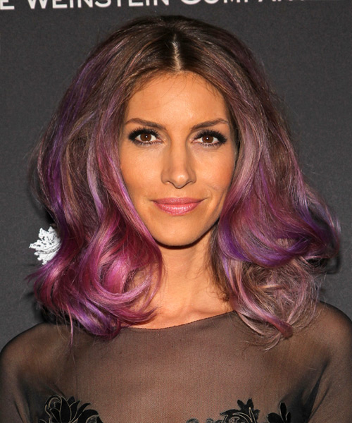 Dawn Olivieri Medium Wavy Alternative    Hairstyle   - Purple  Hair Color with Pink Highlights