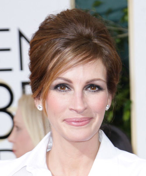 Julia Roberts Updo Long Straight Formal Wedding Updo Hairstyle   - Medium Brunette (Chocolate)