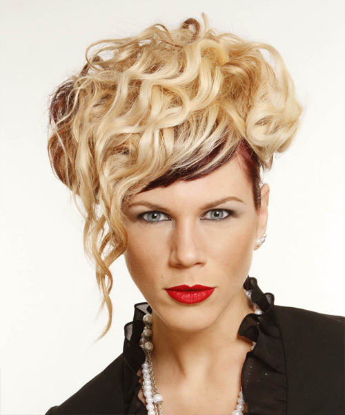 Long Curly Alternative  Emo Updo Hairstyle   -  Golden Blonde and  Brunette Two-Tone Hair Color