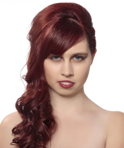 Updo Long Curly Formal  Updo Hairstyle with Side Swept Bangs  - Medium Red