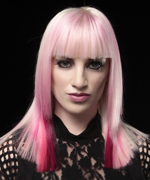 Long Straight Alternative    Hairstyle with Blunt Cut Bangs  - Pink  Hair Color
