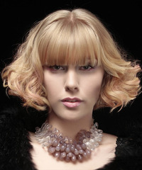 Short Curly Formal Layered Bob  Hairstyle with Blunt Cut Bangs  - Light Strawberry Blonde Hair Color