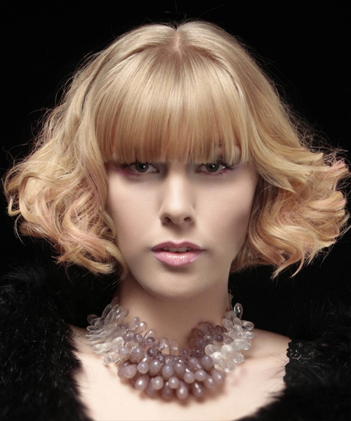 Short Curly Formal Bob  Hairstyle with Blunt Cut Bangs  - Light Blonde (Strawberry)
