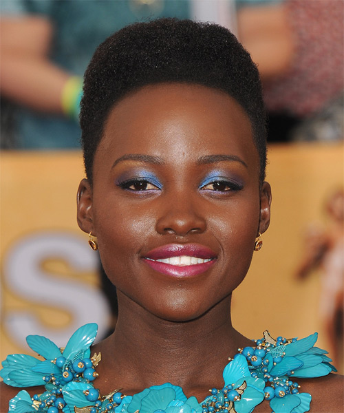 Lupita Nyongo Short Curly Formal    Hairstyle   - Black  Hair Color