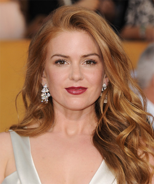 Isla Fisher Long Wavy Casual    Hairstyle   -  Copper Red Hair Color