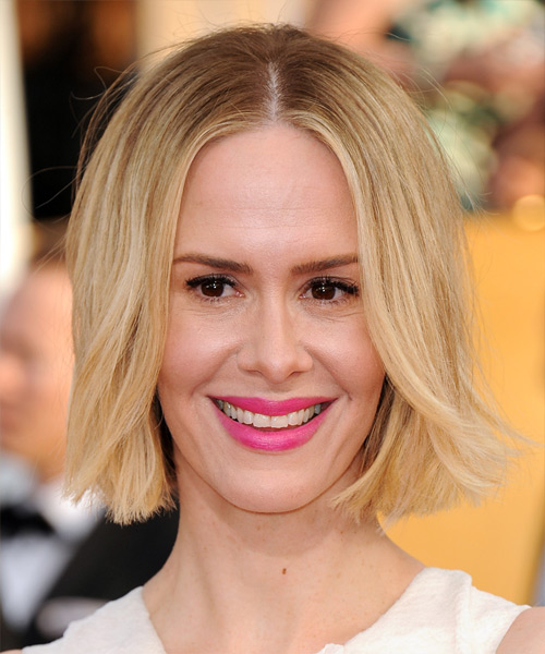 Sarah Paulson Medium Straight Casual  Bob  Hairstyle   -  Blonde Hair Color