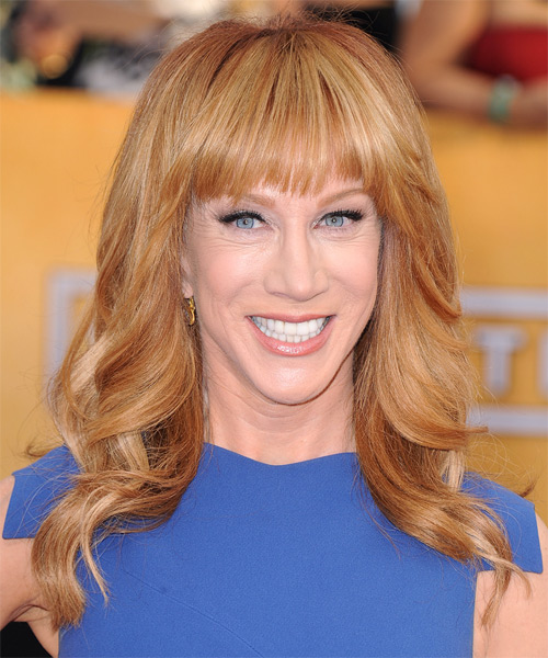 Kathy Griffin Long Wavy Formal   Hairstyle with Blunt Cut Bangs  - Light Red (Ginger)