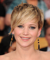 Jennifer Lawrence Short Straight   Dark Blonde   Hairstyle   with Light Blonde Highlights
