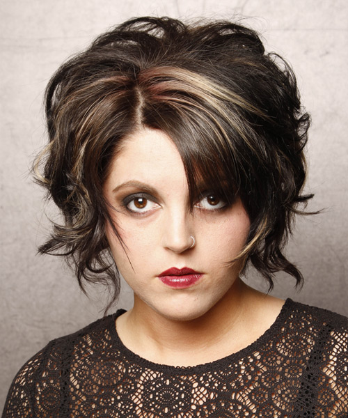 Short Wavy Formal    Hairstyle   - Black  Hair Color with Light Blonde Highlights
