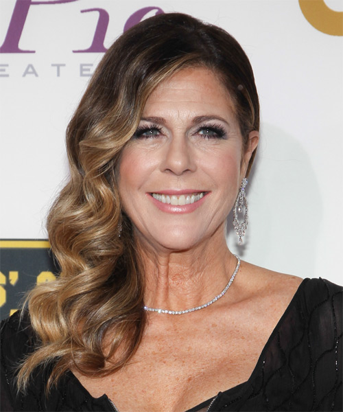 Rita Wilson Long Wavy Formal   Hairstyle   - Dark Brunette