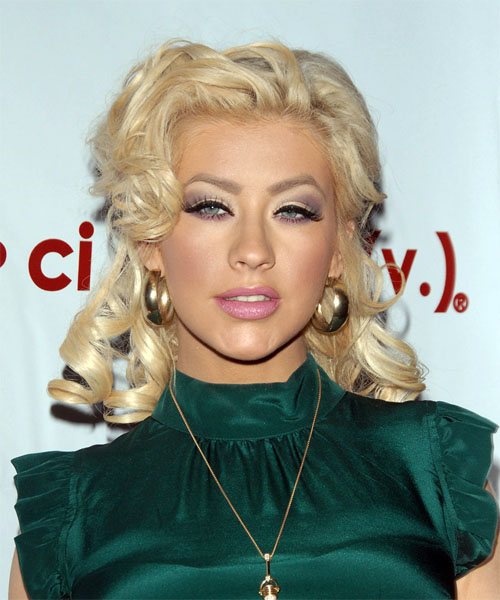 Christina Aguilera Half Up Long Curly Formal  Half Up Hairstyle   (Platinum)