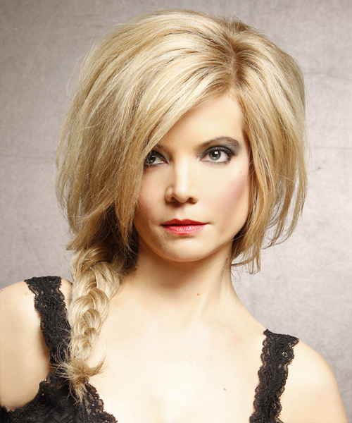 Long Straight Casual  Braided Half Up Hairstyle   - Medium Golden Blonde Hair Color with Light Blonde Highlights