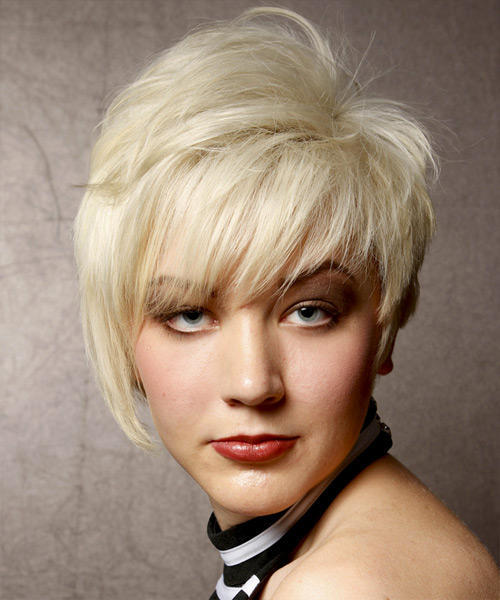 Short Straight Alternative  Asymmetrical  Hairstyle with Side Swept Bangs  - Light Blonde Hair Color