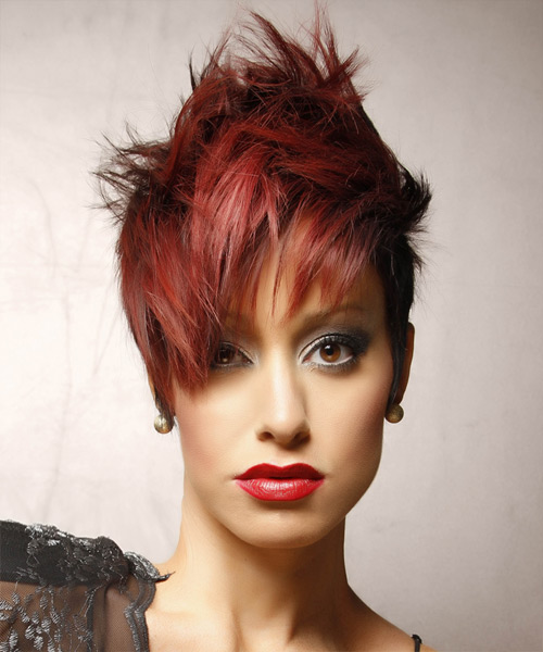 Short Straight Alternative    Hairstyle   -  Red and Dark Red Two-Tone Hair Color