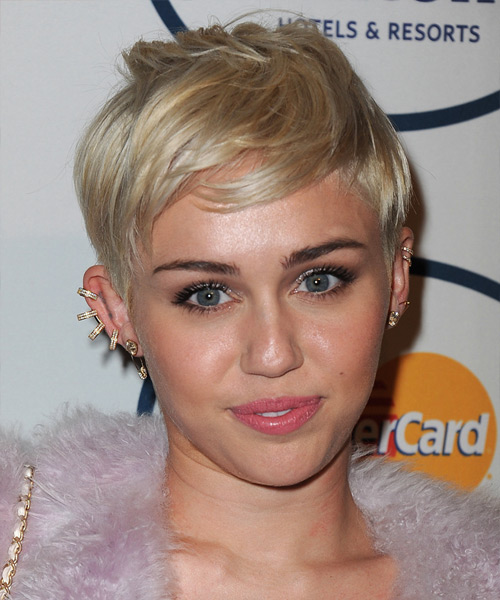 Miley Cyrus Short Straight Casual    Hairstyle   - Light Honey Blonde Hair Color