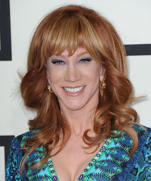 Kathy Griffin Long Wavy Formal   Hairstyle with Blunt Cut Bangs  - Medium Red (Copper)