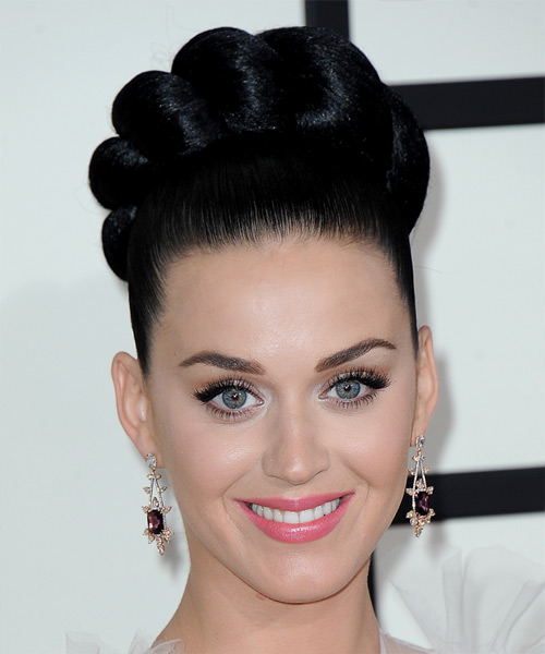 Katy Perry Updo Long Straight Formal Wedding Updo Hairstyle   - Black