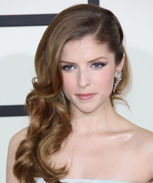 Anna Kendrick Half Up Long Curly Formal  Half Up Hairstyle   - Medium Brunette (Ash)
