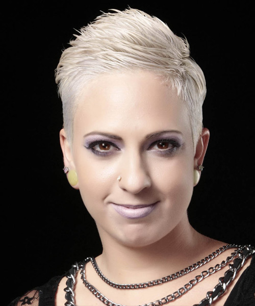 Short Straight Formal    Hairstyle   - Light Platinum Grey Hair Color