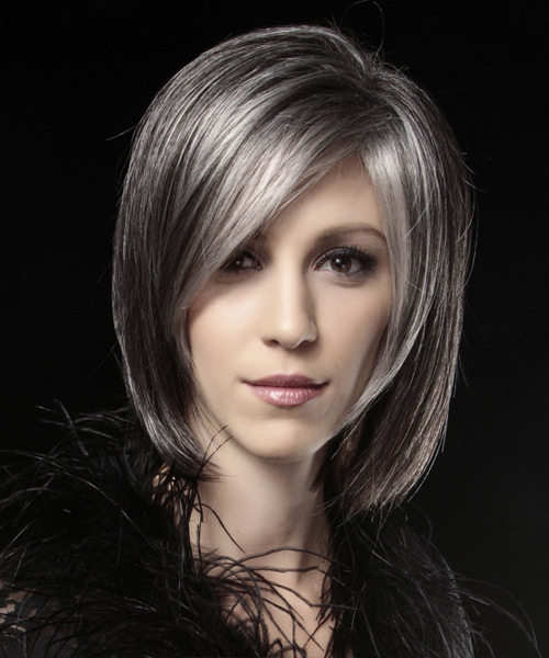 Medium Straight Formal Bob Hairstyle Dark Grey Hair Color With