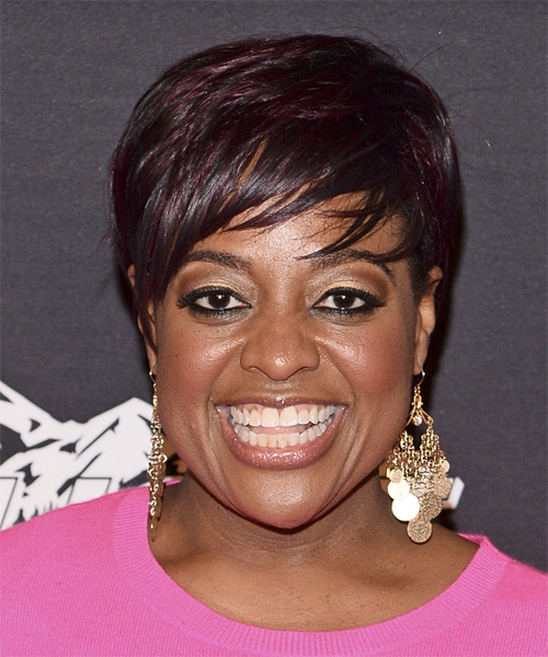 Sherri Shepherd Short Straight Casual    Hairstyle with Side Swept Bangs  - Dark Plum Red Hair Color