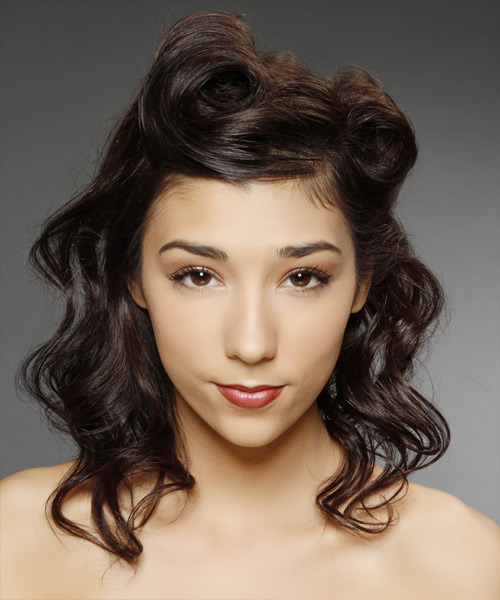 Updo Medium Curly Casual  Half Up Hairstyle   - Dark Brunette