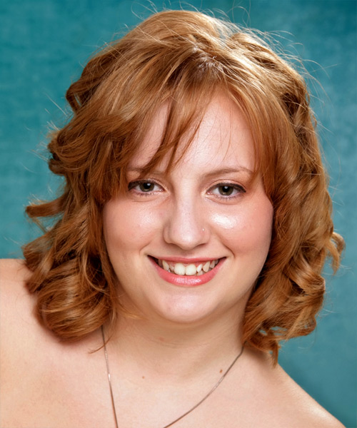 Medium Wavy Formal   Hairstyle with Layered Bangs  - Light Brunette (Copper)