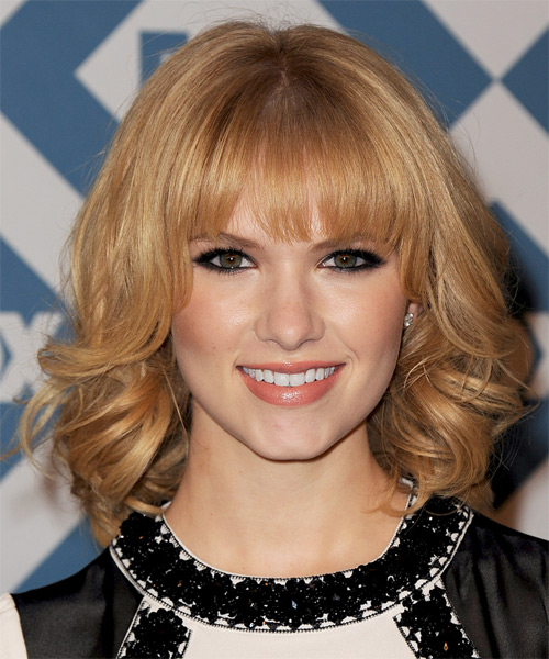 Claudia Lee Medium Wavy Formal   Hairstyle with Blunt Cut Bangs  - Medium Blonde (Copper)