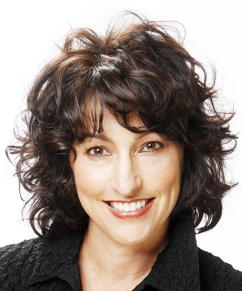 Medium Curly Casual   Hairstyle with Layered Bangs  - Black