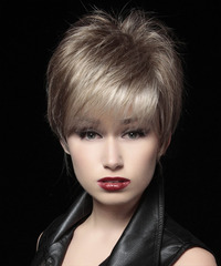 Short Straight Formal Layered Pixie  Hairstyle   - Light Ash Brunette Hair Color with Light Blonde Highlights