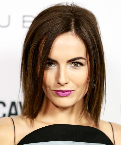 Camilla Belle Medium Straight   Dark Brunette Bob  Haircut