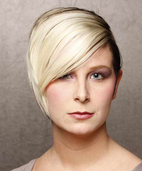 Short Straight Formal    Hairstyle   - Light Blonde and  Brunette Two-Tone Hair Color