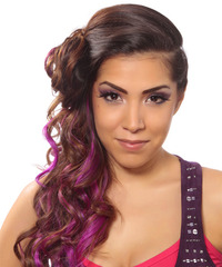 Long Curly Alternative  Asymmetrical Updo Hairstyle   -  Brunette Hair Color with Purple Highlights