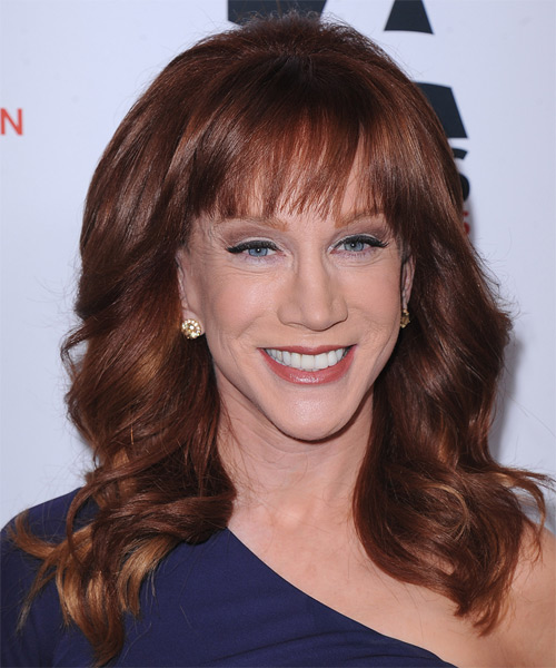 Kathy Griffin Long Wavy Formal   Hairstyle with Blunt Cut Bangs  - Medium Brunette (Mahogany)