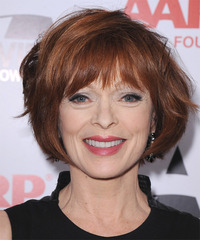 Frances Fisher Short Straight Formal Layered Bob  Hairstyle with Layered Bangs  -  Copper Brunette Hair Color