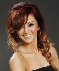 Long Curly Casual  Braided Half Up Hairstyle with Side Swept Bangs  -  Burgundy Brunette and  Blonde Two-Tone Hair Color