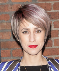 Dev Short Straight Casual    Hairstyle with Side Swept Bangs  - Purple  Hair Color
