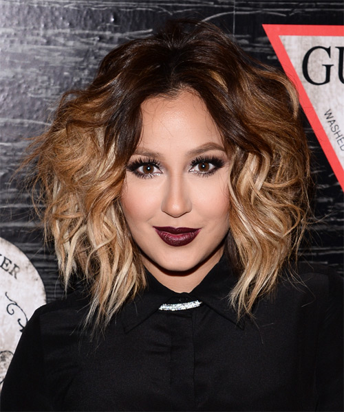 Adrienne Bailon Medium Wavy Dark Brunette and Blonde Two-Tone Hairstyle with Volume