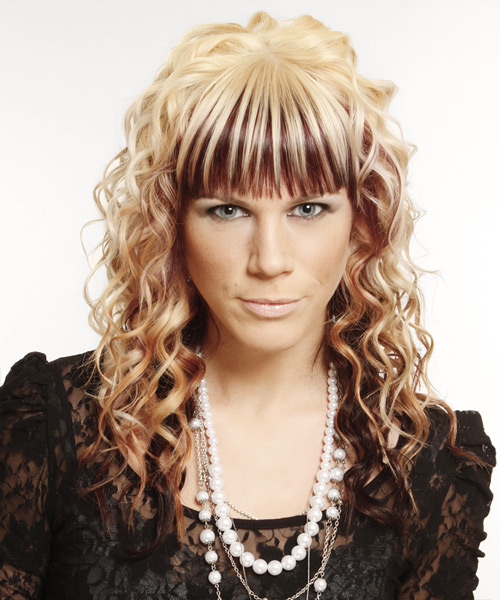 Long Curly Formal   Hairstyle with Blunt Cut Bangs  - Light Blonde (Mahogany)