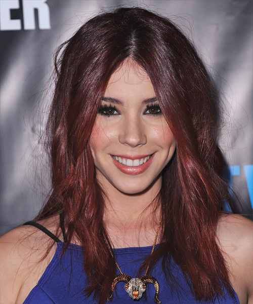 Jillian Rose Reed Long Straight Casual    Hairstyle   - Dark Red Hair Color