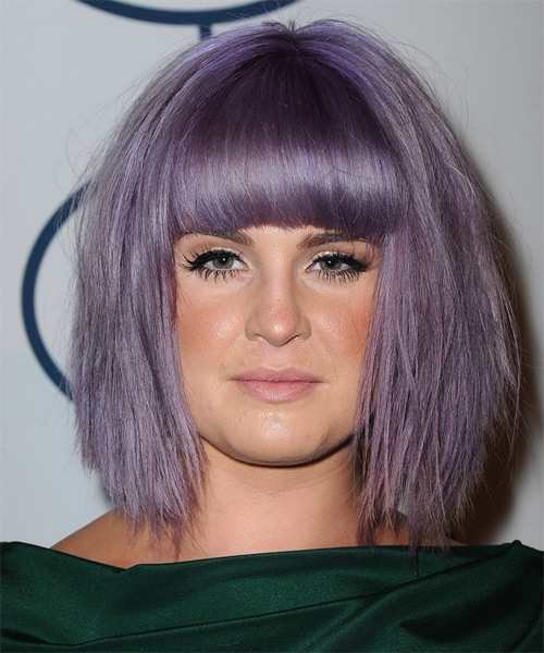 Kelly Osbourne Medium Straight Casual   Hairstyle with Blunt Cut Bangs  - Purple