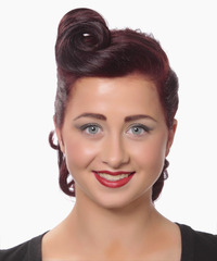 Medium Curly Formal   Updo Hairstyle   - Dark Burgundy Red Hair Color