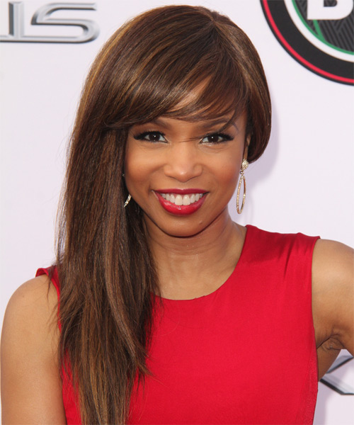 Elise Neal Long Straight    Chocolate Brunette   Hairstyle with Side Swept Bangs  and Dark Blonde Highlights