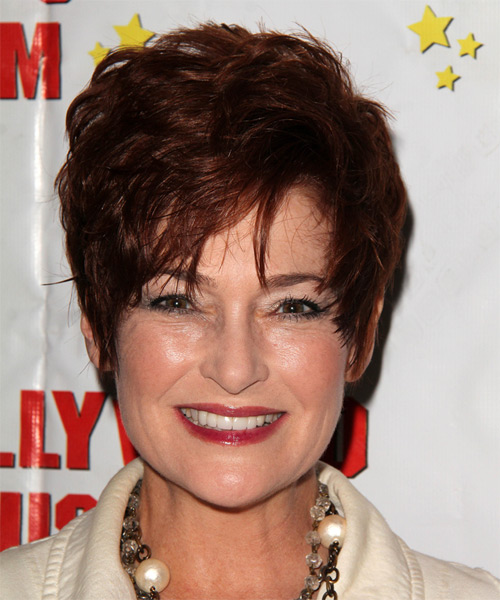 Carolyn Hennesy Short Straight Formal    Hairstyle   - Dark Mahogany Brunette Hair Color