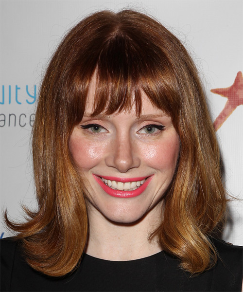 Bryce Dallas Howard Medium Straight Casual    Hairstyle with Blunt Cut Bangs  -  Copper Brunette Hair Color