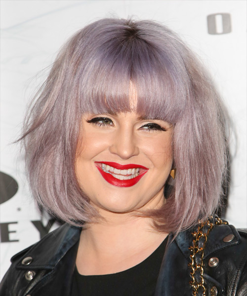 Kelly Osbourne Medium Straight   Purple  Bob  Haircut with Blunt Cut Bangs