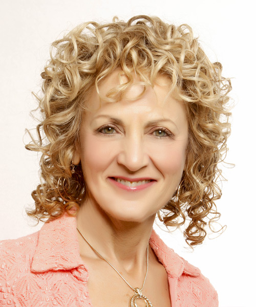 Medium Curly Casual    Hairstyle   -  Golden Blonde Hair Color with Light Blonde Highlights