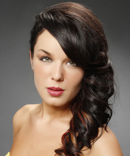 Long Curly   Mocha  Half Up Hairstyle   with  Red Highlights